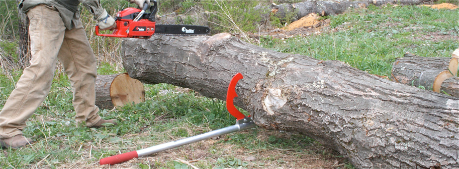 Demonstrating use of the Dual as a log jack for cutting